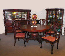 9 pc matching antique gany dining room set table curio sideboard 6 chairs