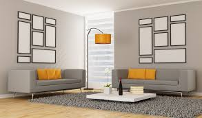 orange living room furniture. Minimalist Living Room With 2 Grey Sofas, Orange Pillows, Lamp, Rug Furniture