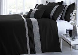 king size black silver diamante faux silk duvet cover bed set co uk kitchen home