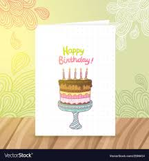 birthday postcard template happy birthday postcard template withcake vector image