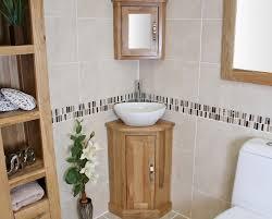 Custom Corner Bathroom Sink Cabinet Mixed With Tall Organizer And Mirrored  Medicine Storage