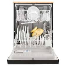 front control heavy duty portable dishwasher in black with 1 hour wash cycle and 12