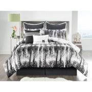 VCNY Home Woodland 8-Piece Black and White Nature-Inspired Reversible Bedding  Comforter Set