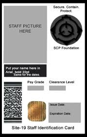 Security Card Template Scp Foundation Id Cards Scp Foundation
