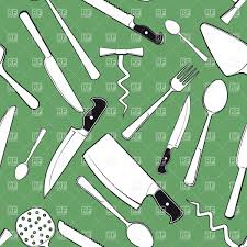 Seamless background with kitchen utensils and cutlery Royalty Free