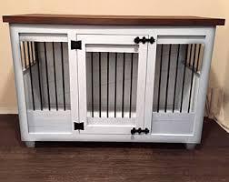 pet crate furniture. Custom White Dog Kennel Furniture- Crate Furniture - Hinged Door Wood Bed Pet