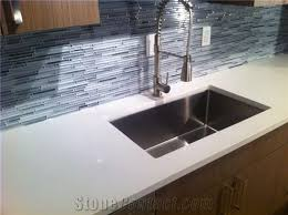 quartz countertop with undermount sink cut out sealed and polished finished inside edge