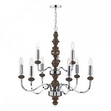 large double tier ceiling light fitting wood and chrome