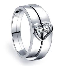 heart shaped wedding band. inexpensive heart shape couples matching wedding band rings on silver shaped n