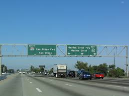 southbound interstate 405 approaches exit 21 california 22 garden grove freeway east to santa ana california 22 leads due east through westminster