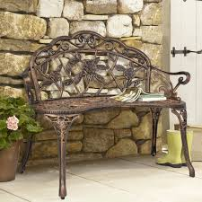 best choice s fl rose accented metal garden patio bench w antique finish bronze com