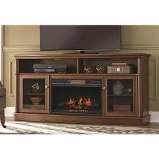 home decorators collection tolleson 68 in media console infrared bow front electric fireplace in mocha