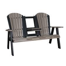 adirondack stationary love seat w flip down