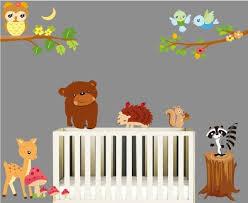 animals style nursery wall art with cute owl bear porcupine deer pink mushroom yellow moon bird  on nursery room wall art with wall art decorating wall art for baby room idea wall stickers baby