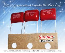 metallized polyester film capacitor for more details please check suntan com hk plastic film capacitors ts02 html