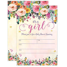 baby girl invite its a girl baby shower invitations girl baby shower invites floral butterfly whimsical 20 fill in invitations and envelopes