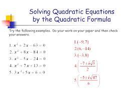 9 solving quadratic equations