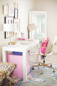 luxury girly office decor blogger pink white and gold decorating idea game home desk
