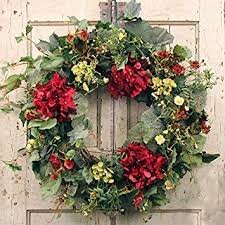 spring front door wreathsAmazoncom Decorative Burgundy Silk Seasonal Front Door Wreath 22