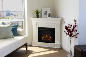 Decorations:Graceful Corner Electric Fireplace With Thermostat And White  Interior Decor Also Tall Glass Flower