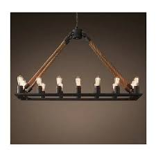 rh loft countryside retro industrial hemp rope chandelier pendant lamp