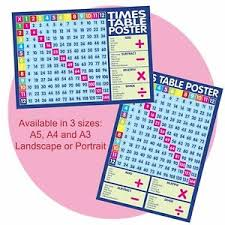 Details About Educational Poster Times Tables Maths Child Sums Revision Wall Chart A5 A4 A3