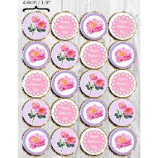 Mothers Day Collection 20 X 48cm Diameter Edible Cupcake Toppers