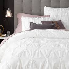 organic cotton pintuck duvet cover shams west elm within king white plans 11
