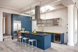 Kitchen Floor Lights Royal Blue Kitchen On Light Color Floors Is A Modern Contemporary