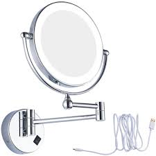 Usb Rechargeable Lighted Vanity Makeup Mirror With 7x 1x Magnifying And Led Lights Bathroom 8 Round Glass Mirrors Chrome Finish Art Deco Mirror