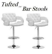 tufted adjustable swivel bar stool with armrests white leatherette set of 2 adjustable swivel bar stools s98