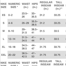 Nike Pant Size Chart Top Chart Womens And Bottoms Chart