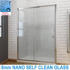 bathroom sliding shower door enclosure screen cubicle 8mm nano self clean glass
