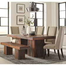 Wood Modern Dining Table Design Modern Bold Design Sheesham Wood Dining Set With Upholstered Chairs And Bench
