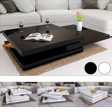 rotating coffee table high gloss layers modern living room furniture lounge mdf