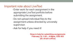 student teaching seminar announcements student important note about livetext enter work for each assignment in the appropriate livetext portfolio before submitting