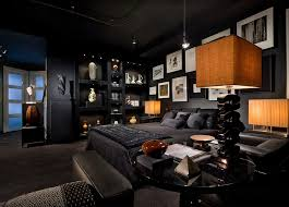 view in gallery lighting and color defines this captivating bedroom in black