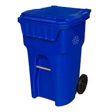 blue wheeled recycling container