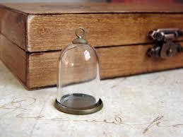 diy miniature glass dome terrarium necklace with antique brass base