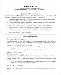 printable sample resume for construction worker sample resume for construction worker
