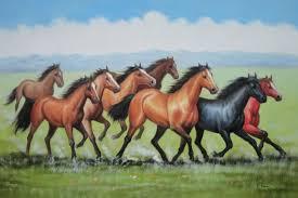 eight joyful running horses in green field 2 canvas set 2 canvas set