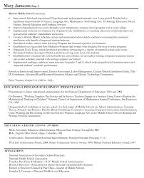 Resumes Principal Middle School Resume Sample High On Should You Put