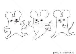 ねずみの年賀状シンプルシュールモノクロのイラスト素材 48869689 Pixta