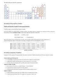 Periodic table - periodic properties