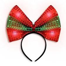Light Up Christmas Bows Led Christmas Bow Light Up Headband Green Blinkee
