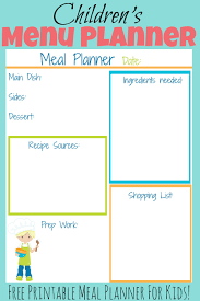 Children's Meal Planners - Homeschool Printables For Free