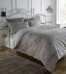 script paris chic french text single duvet cover quilt bedding set pillow case