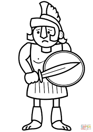 Small Picture Cartoon Ancient Greek Soldier coloring page Free Printable