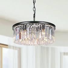 striking black iron 5 light chandelier image concept