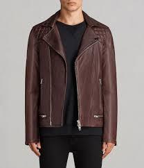 mens conroy leather biker jacket oxblood red image 1